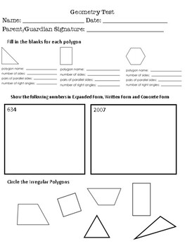 Geometry Quiz- Polygons & Angles