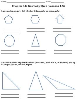 Geometry Quiz - Polygons, Triangles, Quadrilaterals