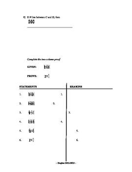 Geometry Quiz - Proofs of Segments, Angles, and Algebra