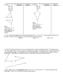 Geometry Quiz Proving Triangles Congruent Fall 2013; 2 versions; with Answer Key