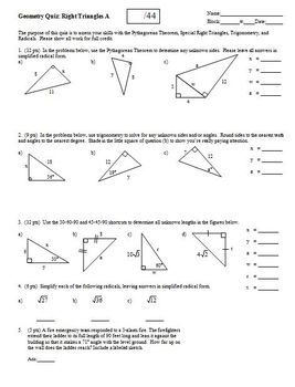 Geometry Quiz: Right Triangles; 2 versions; 1 page each (Editable)