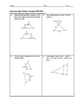 Geometry Quiz - Similar Triangles BUNDLE