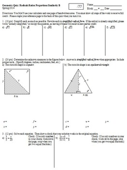 Geometry Quiz Similarity Radicals and Proportions Spring 2014; 2 versions