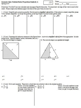 Geometry Quiz Similarity Radicals and Proportions Spring 2