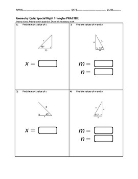 Geometry Quiz - Special Right Triangles BUNDLE