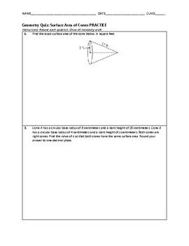 Geometry Quiz - Surface Area of Cones BUNDLE