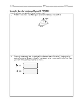 Geometry Quiz - Surface Area of Pyramids BUNDLE