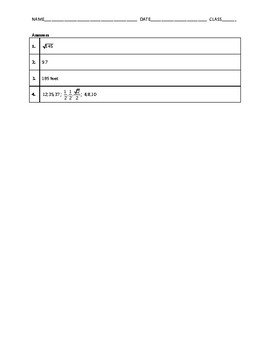 Geometry Quiz - The Pythagorean Theorem BUNDLE