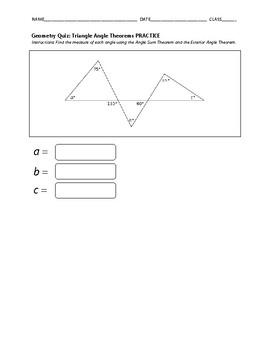 Geometry Quiz - Triangle Angle Theorems BUNDLE