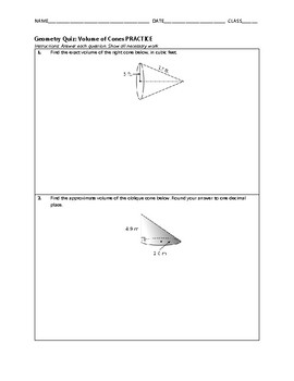 Geometry Quiz - Volume of Cones BUNDLE