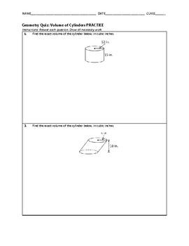 Geometry Quiz - Volume of Cylinders BUNDLE