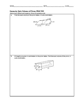Geometry Quiz - Volume of Prisms BUNDLE