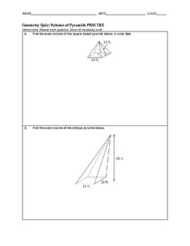Geometry Quiz - Volume of Pyramids BUNDLE