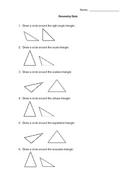 Geometry Quiz for grade 4 or 5 class