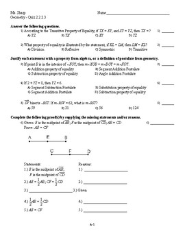 Geometry - Quiz on Algebraic Properties, Definitions, and Postulates (+proof)