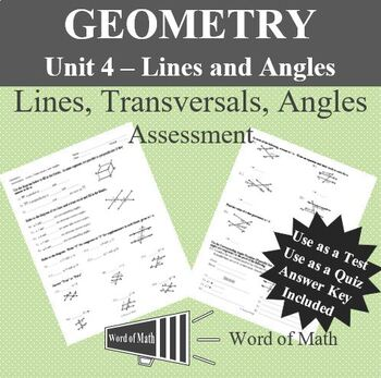 Geometry Quiz or Test - Lines, Transversals, and Angles