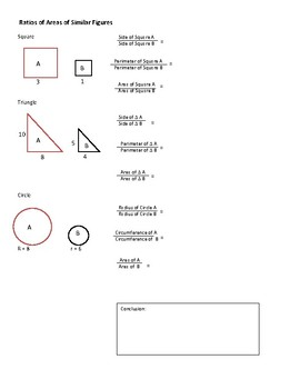 Geometry: Ratio of similar figures comparing Area, SA, Volume, perimeter