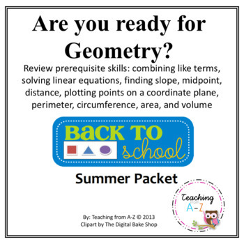 Geometry Readiness Summer or Back to School Packet