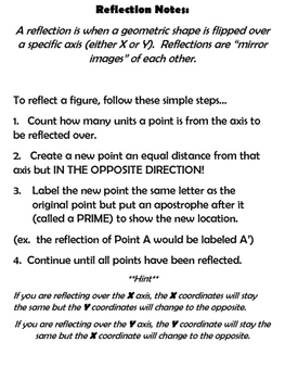 Geometry:  Reflections on the Coordinate Plane