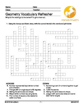Geometry Refresher Crossword