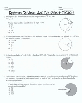 Geometry Regents Review: Arc Length & Sector Area