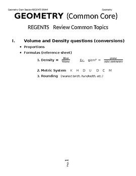 Geometry Regents Review - Topics on Final (Grade 9 and 10)