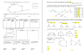 Geometry Review: Angles and Angle Relationships Spring 2012 with Key (Editable)
