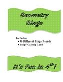 Geometry Review Bingo