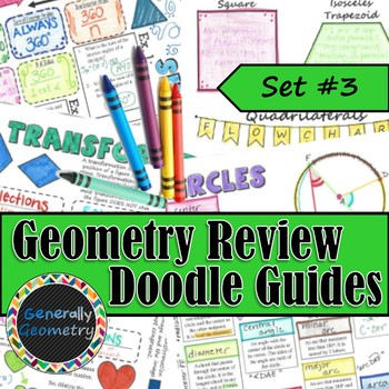 Geometry Review Doodle Guides, Set #3; Similarity, Transformations, & More!