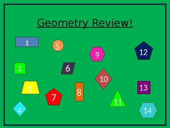 Geometry Review - First Grade 1.G.A.1 and 1.G.A.2