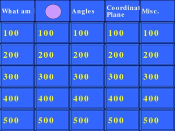 Geometry Review Interactive Jeopardy Game
