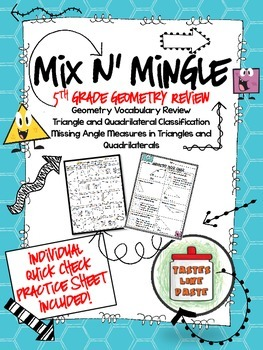 Geometry Review: Mix n' Mingle *Individual Worksheet Included*
