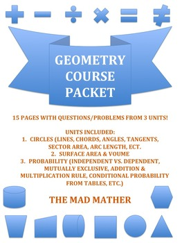 Geometry 3 UNITS Review Packet!!