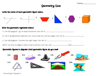Geometry Review Packet (Student sheets, Who has.., and study booklet)