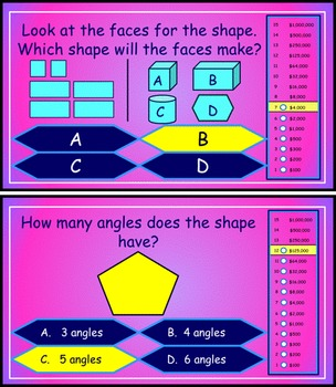 Geometry Review Power Point Millionaire Game for 2nd Grade