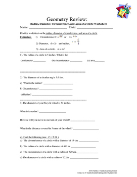 Geometry Review: Radius, Diameter, Circumference, and Area