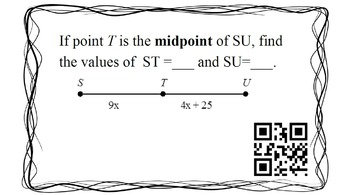 Geometry Review - Semester 1 - QR Codes