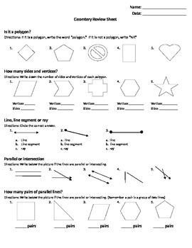 Geometry Review Sheet
