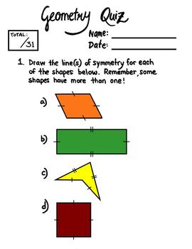 Geometry Review Sheets with Quiz and Answer Key