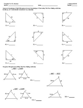 Geometry Review - Similarity, Right Triangle Trigonometry by Justin ...