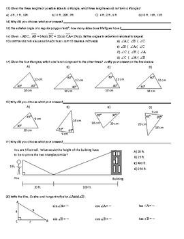 Geometry Review - Similarity, Right Triangle Trigonometry