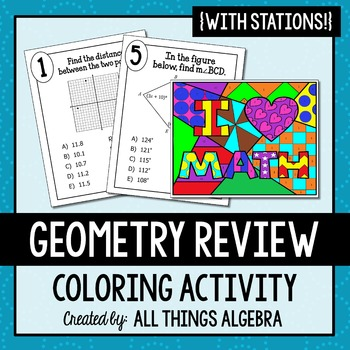 Geometry Review Stations Coloring Activity