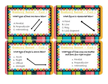Geometry Review Task Cards (Lines, Angles, Points, Rays and Segments)