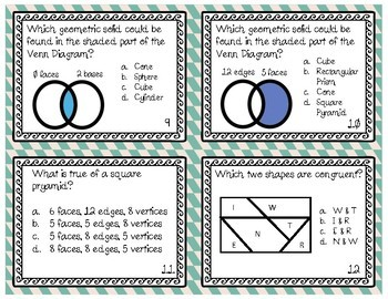 Geometry Review Task Cards: Lines, Solids, Congruency, & Patterns!