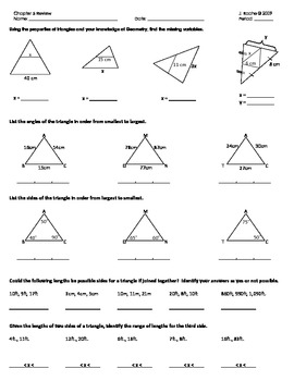 Geometry Review - Triangle Topics (Midsegment, bisectors, & inequality Theorems)