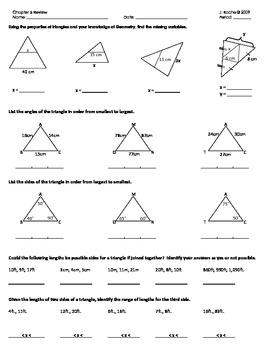 Geometry Review - Triangle Topics (Midsegment, bisectors,