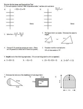 Geometry Review for the Areas and Inequalities Test (Editable)