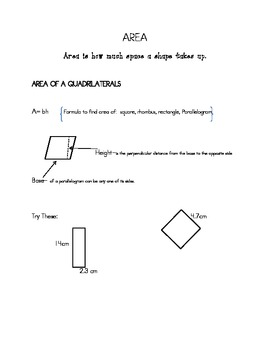 Geometry Review with notes on Area