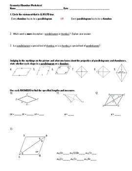 Geometry-Rhombus Worksheet