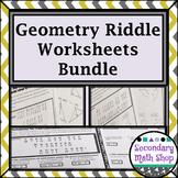 Geometry Riddle Worksheets Money Saving Bundle!!!